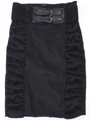 2092 Black Stretch Taffeta Pencil Skirt with Belt - Black, Front View Thumbnail