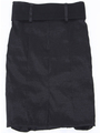 2092 Black Stretch Taffeta Pencil Skirt with Belt - Black, Back View Thumbnail