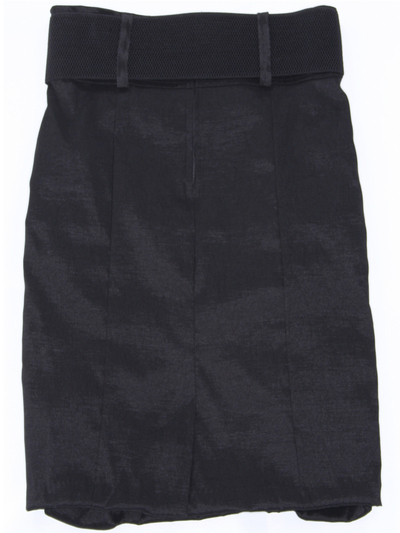 2092 Black Stretch Taffeta Pencil Skirt with Belt - Black, Back View Medium