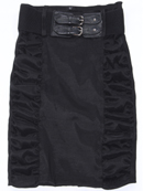 2092 Black Stretch Taffeta Pencil Skirt with Belt, Black