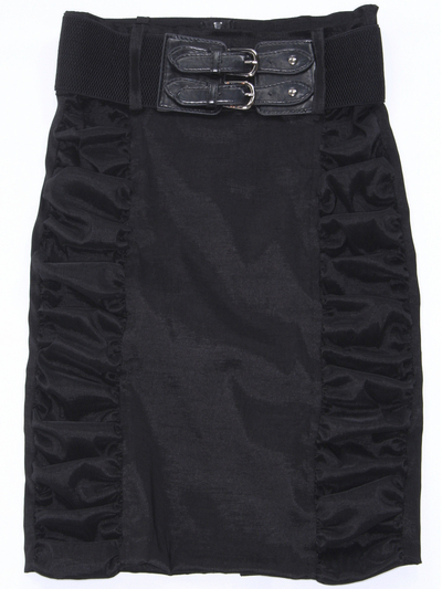 2092 Black Stretch Taffeta Pencil Skirt with Belt - Black, Front View Medium