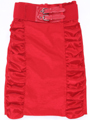 2092 Red Stretch Taffeta Pencil Skirt with Belt - Red, Front View Thumbnail