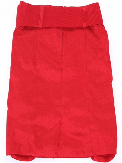 2092 Red Stretch Taffeta Pencil Skirt with Belt - Red, Back View Medium