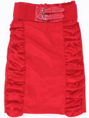 2092 Red Stretch Taffeta Pencil Skirt with Belt, Red
