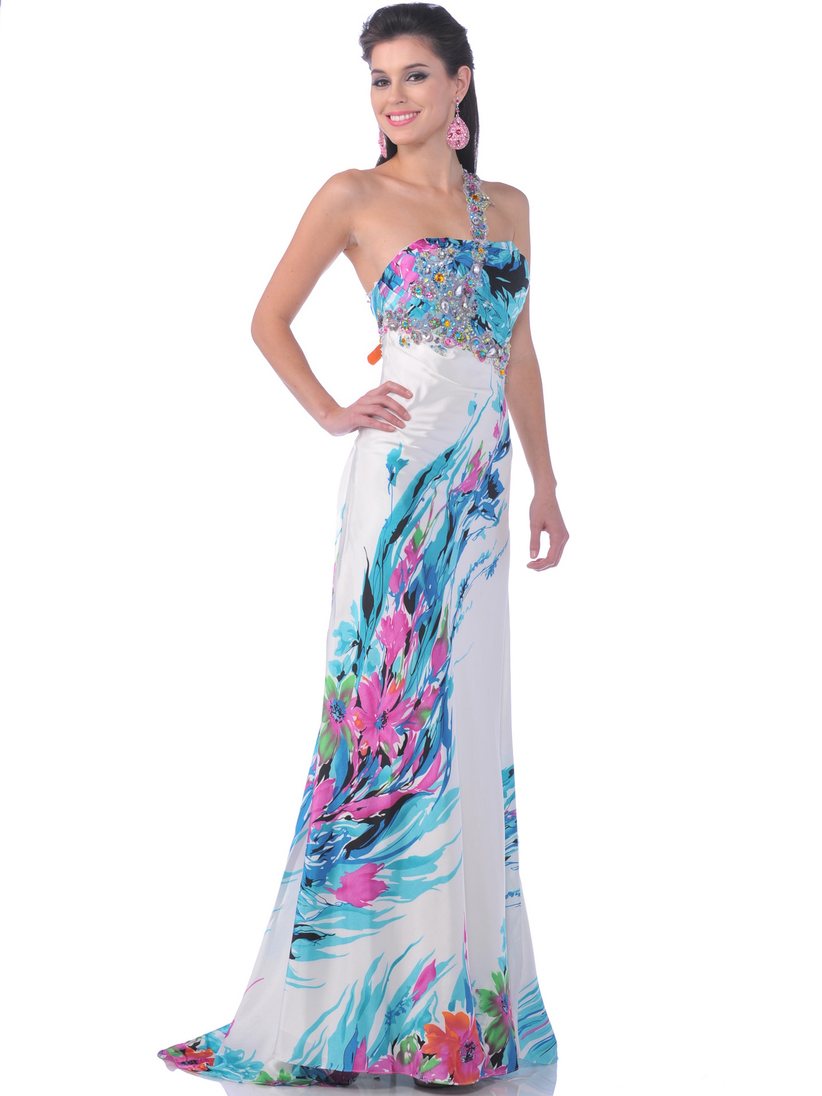 2102 Jeweled One Shoulder Print Evening Dress - Front Image