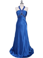 2104 Blue Halter Sequin Evening Dress - Blue, Front View Thumbnail