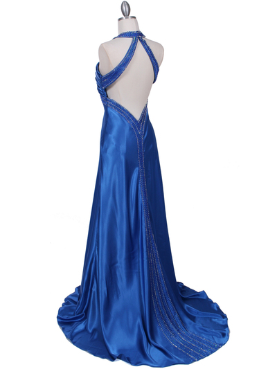 2104 Blue Halter Sequin Evening Dress - Blue, Back View Medium