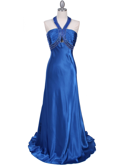 2104 Blue Halter Sequin Evening Dress - Blue, Front View Medium