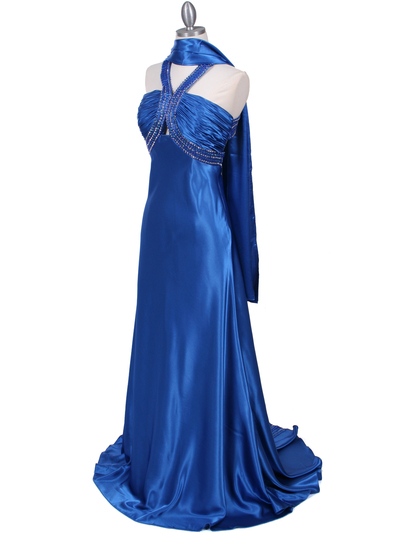 2104 Blue Halter Sequin Evening Dress - Blue, Alt View Medium