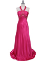 2104 Hot Pink Halter Sequin Evening Dress - Hot Pink, Front View Thumbnail
