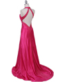 2104 Hot Pink Halter Sequin Evening Dress - Hot Pink, Back View Thumbnail