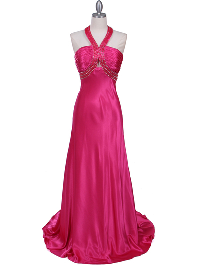 2104 Hot Pink Halter Sequin Evening Dress - Hot Pink, Front View Medium