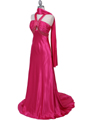 Hot Pink Halter Sequin Evening Dress