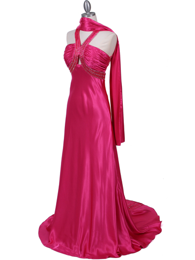 2104 Hot Pink Halter Sequin Evening Dress - Hot Pink, Alt View Medium