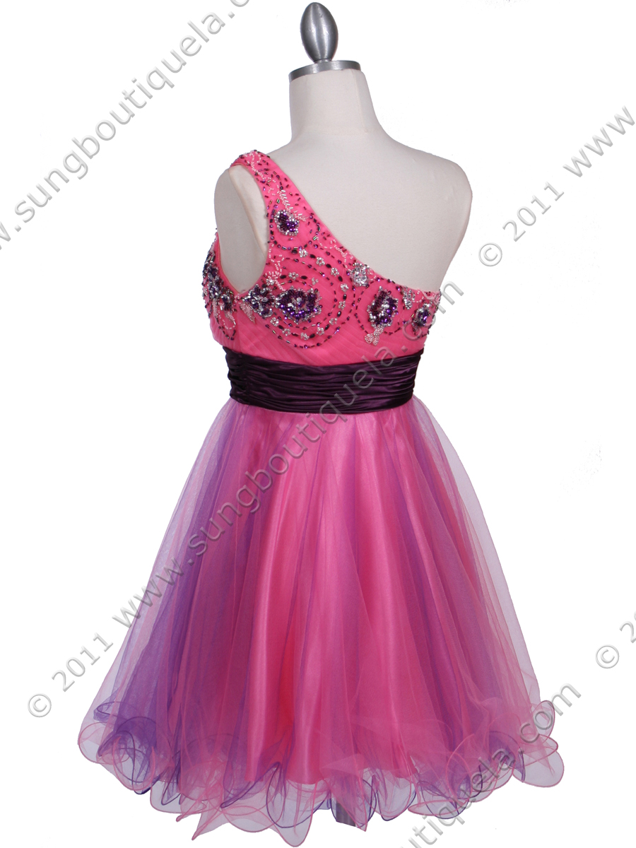 Pink Purple One Shoulder Cocktail Dress Sung Boutique L A