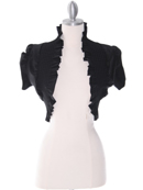 2115 Black Ruffled Taffeta Bolero, Black
