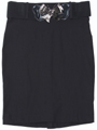 2116 Black Pencil Skirt with Belt - Black, Front View Thumbnail