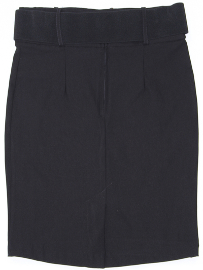 2116 Black Pencil Skirt with Belt - Black, Back View Medium