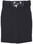 2116 Black Pencil Skirt with Belt, Black