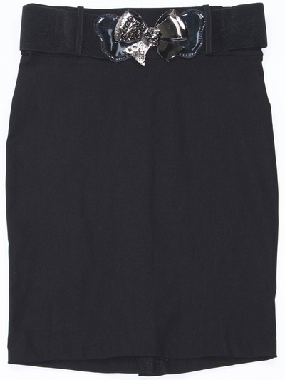 2116 Black Pencil Skirt with Belt - Black, Front View Medium