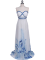 2118 White Strapless Printed Evening Dress - White, Front View Thumbnail