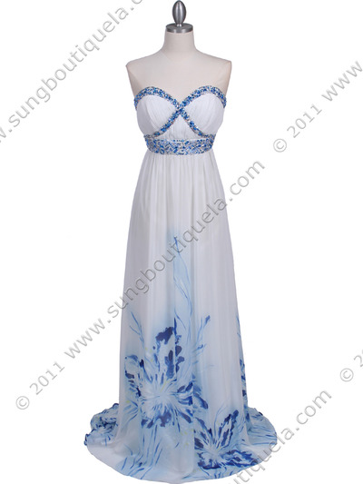 2118 White Strapless Printed Evening Dress - White, Front View Medium