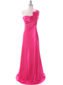 2123 Hot Pink One Shoulder Evening Dress - Hot Pink, Front View Thumbnail