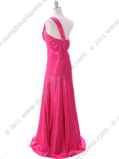 2123 Hot Pink One Shoulder Evening Dress - Hot Pink, Back View Medium