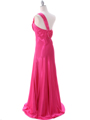 Hot Pink One Shoulder Evening Dress - Back Image