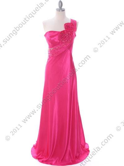 2123 Hot Pink One Shoulder Evening Dress - Hot Pink, Front View Medium