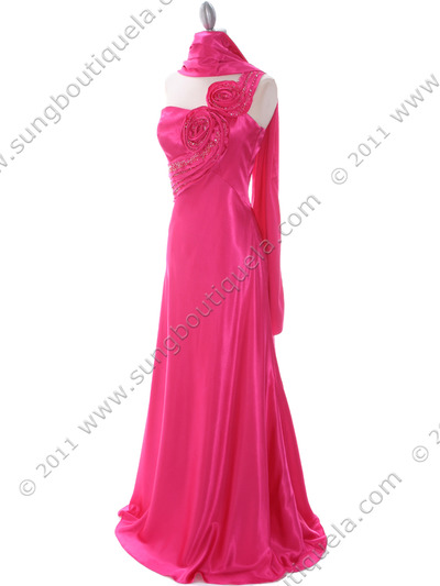 2123 Hot Pink One Shoulder Evening Dress - Hot Pink, Alt View Medium