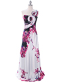 2123 Print One Shoulder Evening Dress - Print, Front View Thumbnail