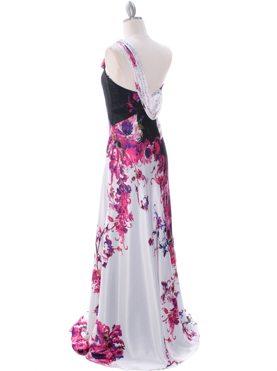 2123 Print One Shoulder Evening Dress - Print, Back View Medium