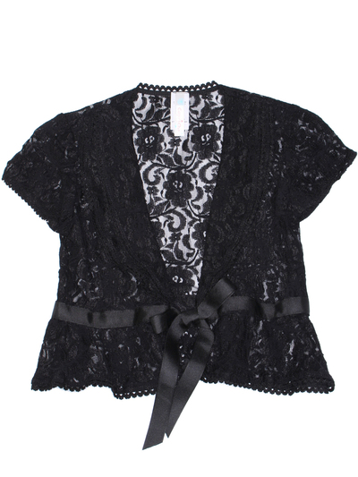 2127 Lace Cap Sleeve Bolero - Black, Front View Medium