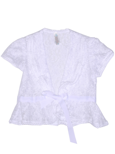 2127 Lace Cap Sleeve Bolero - White, Front View Medium