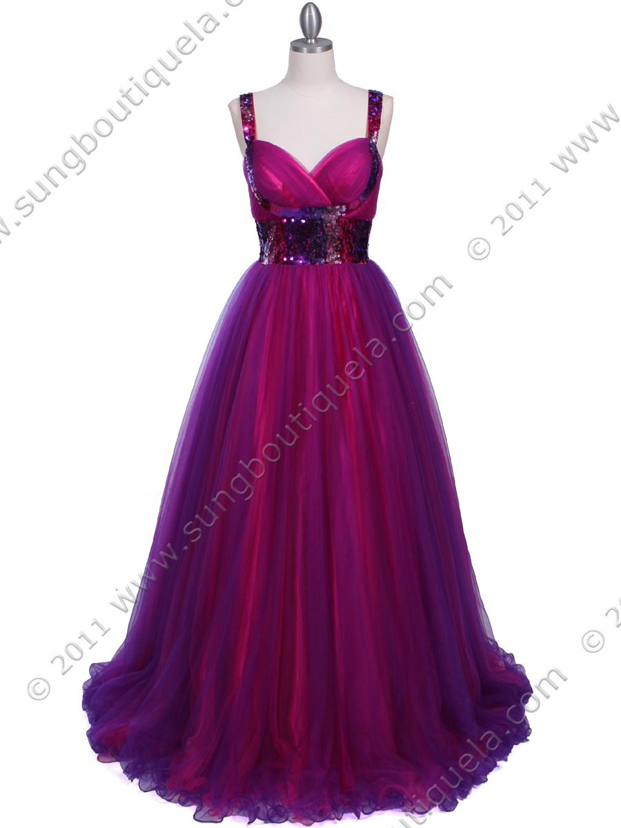Purple Hot Pink Sequin Lace Prom Dress | Sung Boutique L.A.