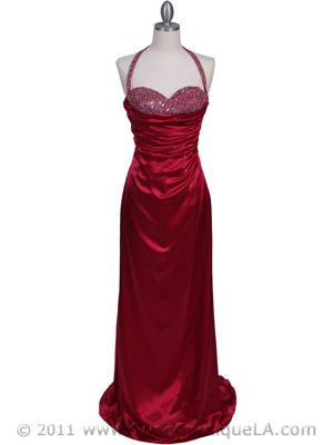 2135 Raspberry Beaded Halter Prom Evening Dress, Raspberry
