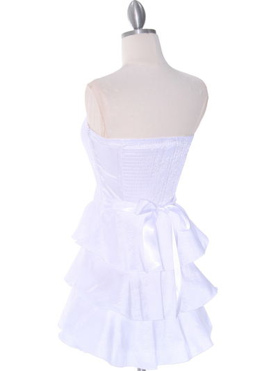 2140 White Tiered Taffeta Graduation Dress - White, Back View Medium