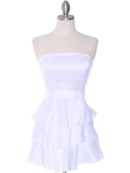 White Tiered Taffeta Graduation Dress
