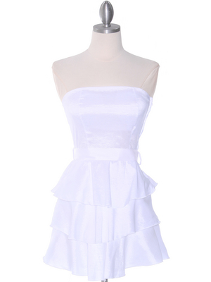 2140 White Tiered Taffeta Graduation Dress, White