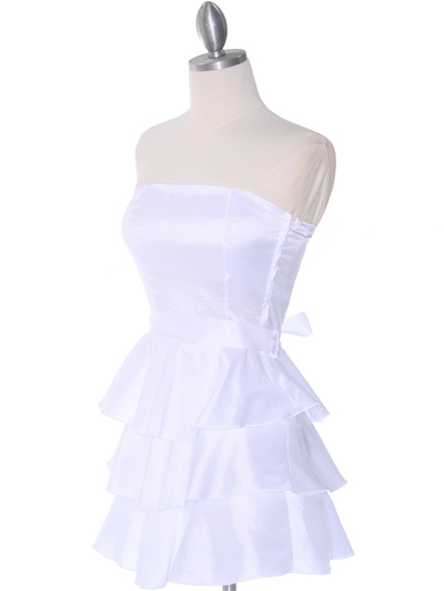 2140 White Tiered Taffeta Graduation Dress - White, Alt View Medium
