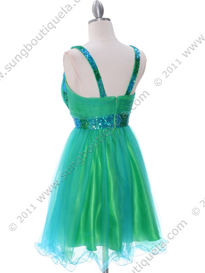 2141 Green Turquoise Homecoming Dress - Green Turquoise, Back View Medium