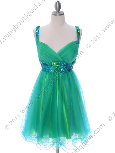2141 Green Turquoise Homecoming Dress - Green Turquoise, Front View Medium