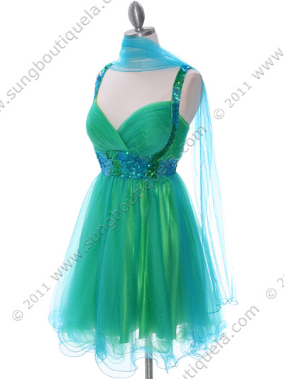 2141 Green Turquoise Homecoming Dress - Green Turquoise, Alt View Medium