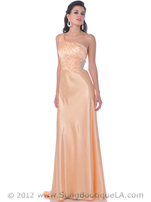 2145 One Shoulder Charmeuse Evening Dress, Gold