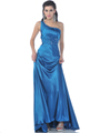 Teal One Shoulder Charmeus Evening Dress with Jeweled