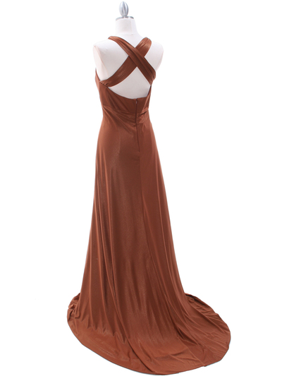 2148 Brown Glitter Bridesmaid Dress - Brown, Back View Medium