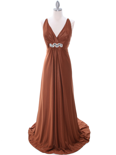 2148 Brown Glitter Bridesmaid Dress - Brown, Front View Medium