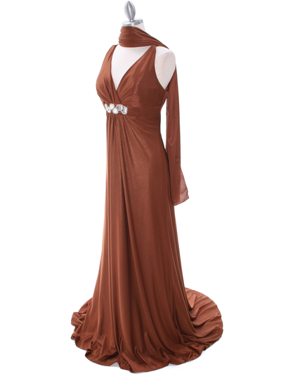 2148 Brown Glitter Bridesmaid Dress - Brown, Alt View Medium