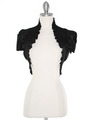2151 Black Taffeta Bolero - Black, Front View Thumbnail